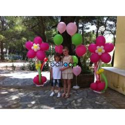 Μπαλόνια βάπτισης μαργαρίτα και 2 μπουκέτα μπαλονιών, για κορίτσι, στους Αγίους Αναργύρους