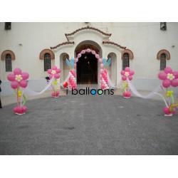 Μπαλόνια βάπτισης Τίνκερμπελ, αψίδα με όνομα και 6 μεγάλες μαργαρίτες διαδρόμου, για κορίτσι στην Νίκαια Μπαλόνια Βάπτισης Εκκλησία